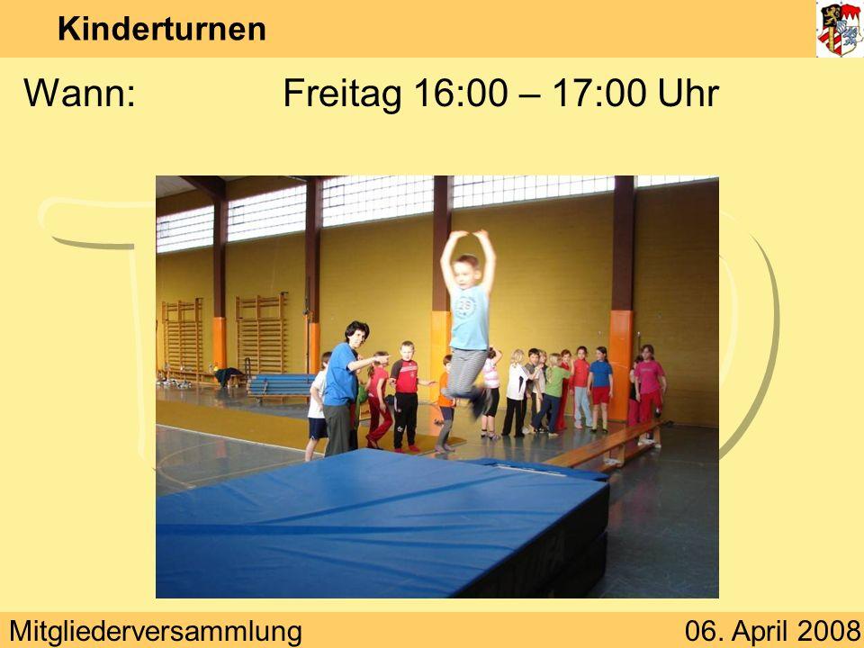 Mitgliederversammlung06. April 2008 Frauenturnen Junioren Übungsleiterin:Katharina Zeitz