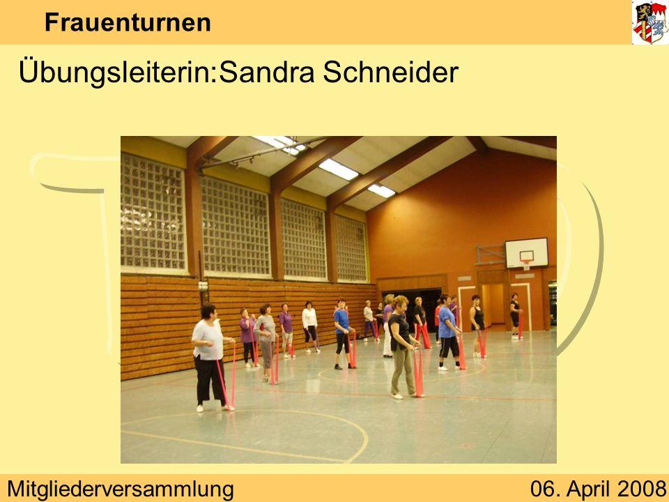 Mitgliederversammlung06. April 2008 Frauenturnen Wo:Schulturnhalle Oberbexbach
