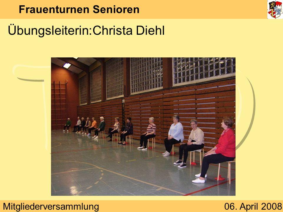 Mitgliederversammlung06. April 2008 Frauenturnen Senioren Übungsleiterin:Christa Diehl