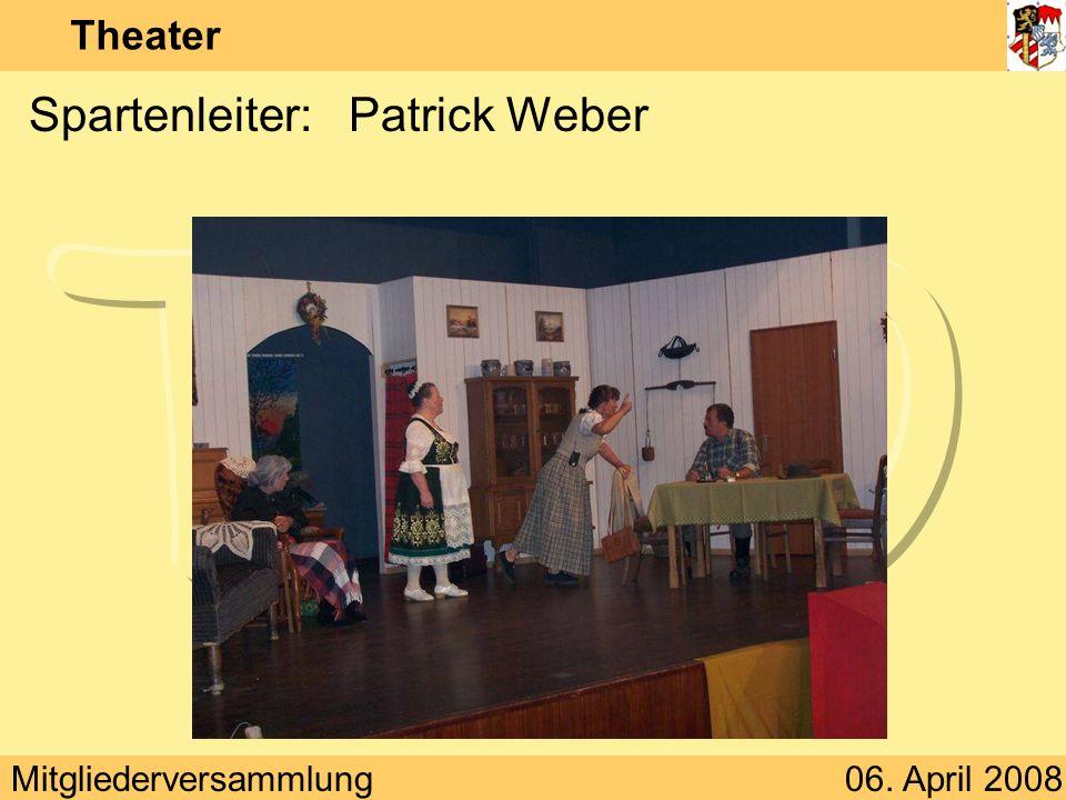 Mitgliederversammlung06. April 2008 Theater Spartenleiter:Patrick Weber