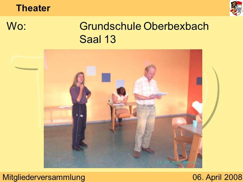 Mitgliederversammlung06. April 2008 Theater Wo:Grundschule Oberbexbach Saal 13