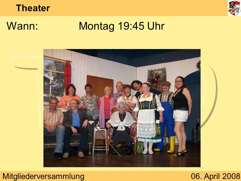 Mitgliederversammlung06. April 2008 Theater Wann:Montag 19:45 Uhr