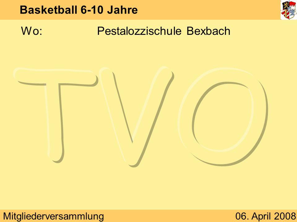 Mitgliederversammlung06. April 2008 Basketball 6-10 Jahre Wo:Pestalozzischule Bexbach