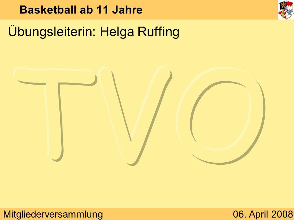 Mitgliederversammlung06. April 2008 Basketball ab 11 Jahre Übungsleiterin: Helga Ruffing