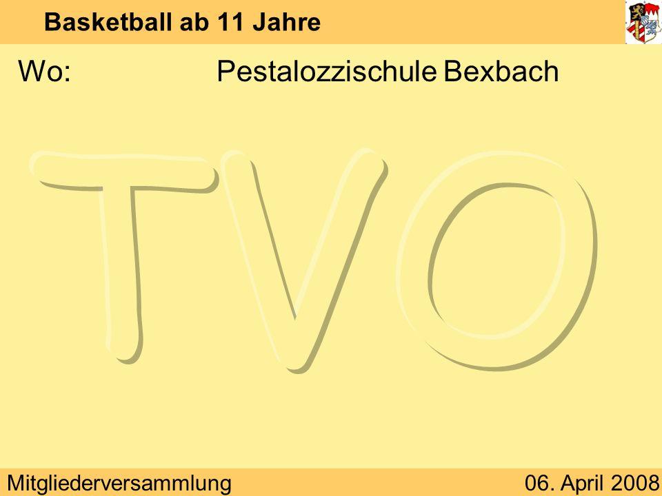 Mitgliederversammlung06. April 2008 Basketball ab 11 Jahre Wo:Pestalozzischule Bexbach