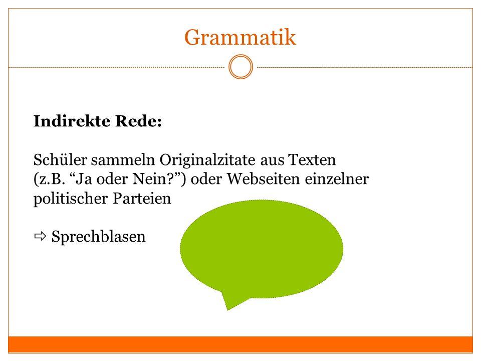 Grammatik Indirekte Rede: Schüler sammeln Originalzitate aus Texten (z.B. Ja oder Nein?) oder Webseiten einzelner politischer Parteien Sprechblasen