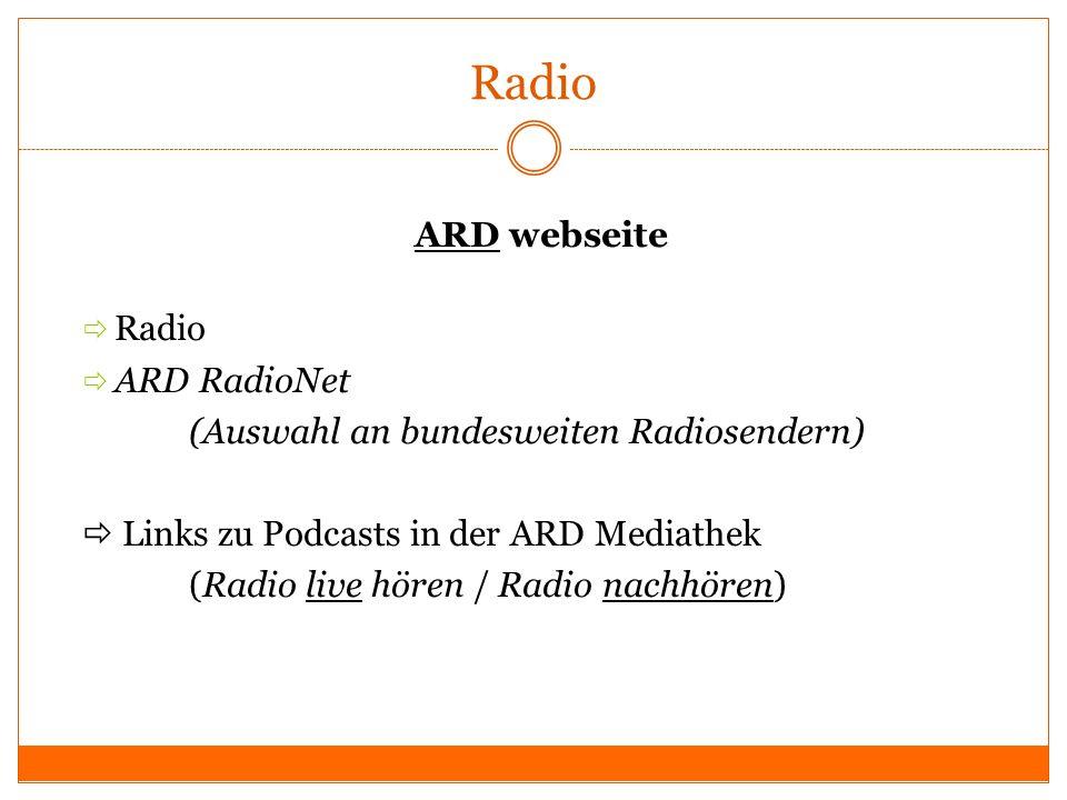 Radio ARDARD webseite Radio ARD RadioNet (Auswahl an bundesweiten Radiosendern) Links zu Podcasts in der ARD Mediathek (Radio live hören / Radio nachh