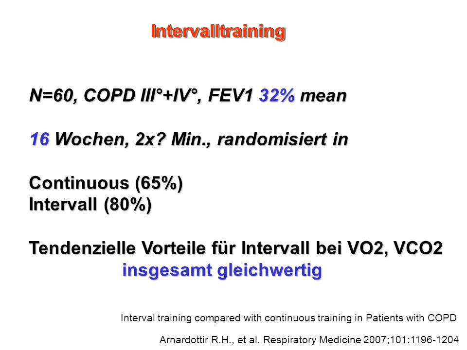 Interval training compared with continuous training in Patients with COPD Arnardottir R.H., et al. Respiratory Medicine 2007;101:1196-1204 N=60, COPD