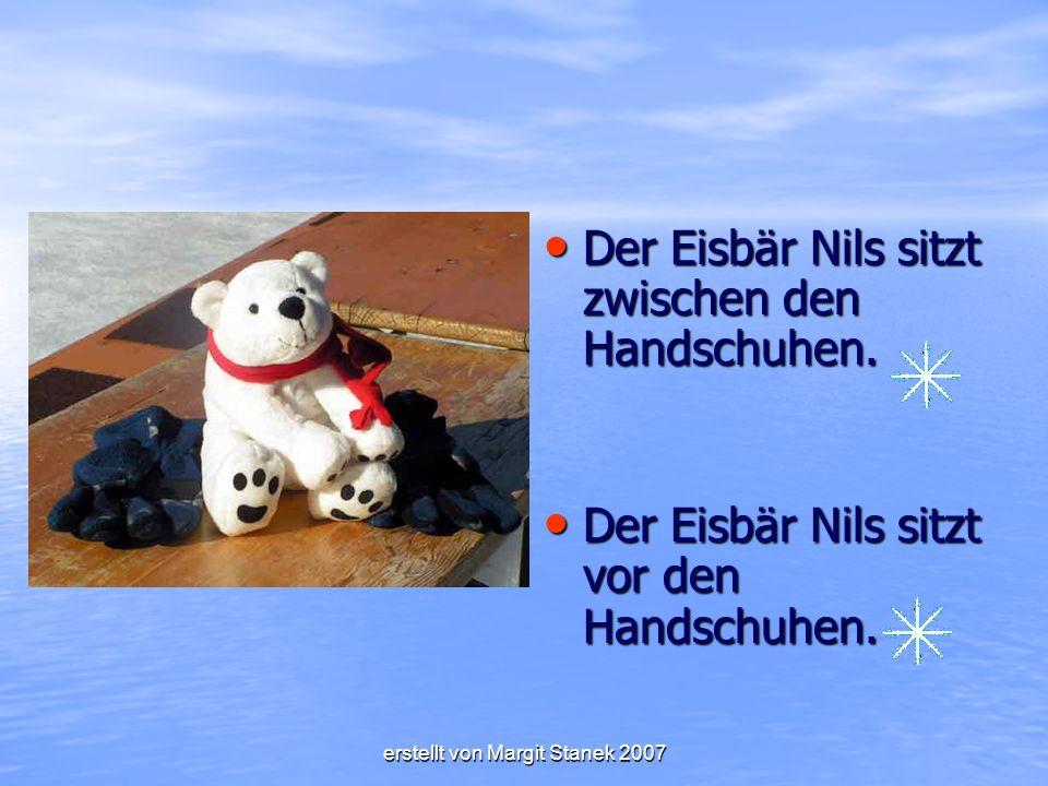 Der Eisbär Nils sitzt zwischen den Handschuhen.Der Eisbär Nils sitzt zwischen den Handschuhen.