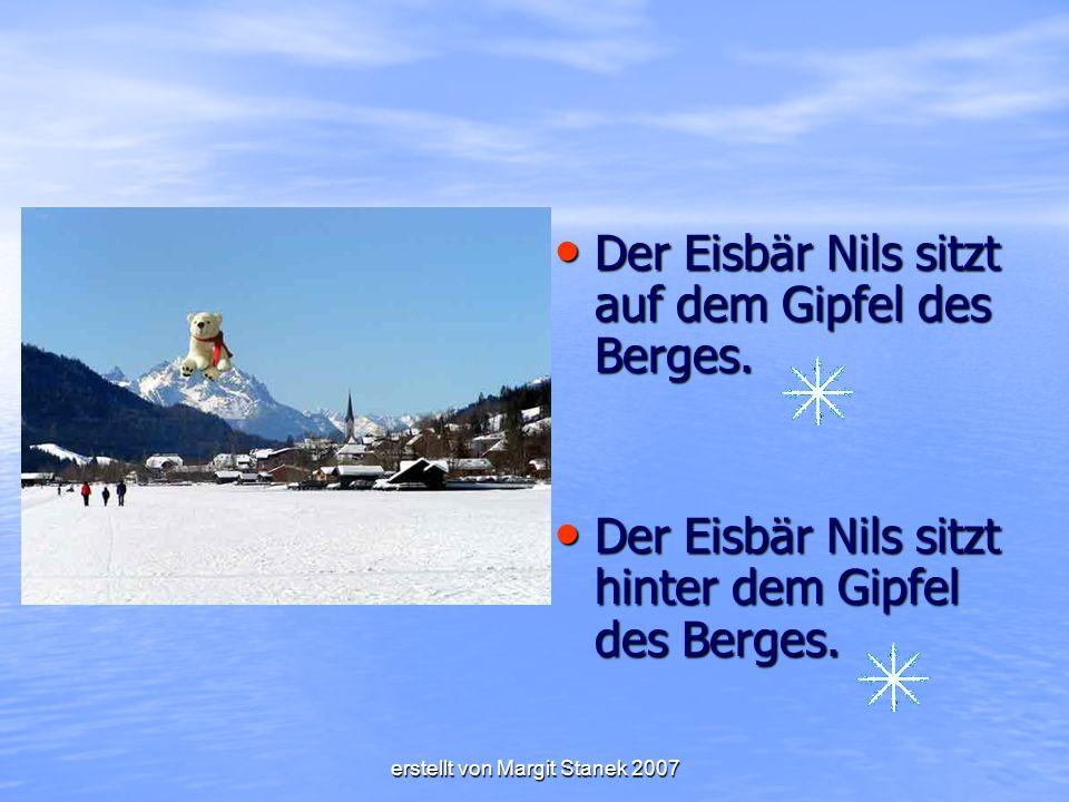 Der Eisbär Nils sitzt auf dem Gipfel des Berges.Der Eisbär Nils sitzt auf dem Gipfel des Berges.