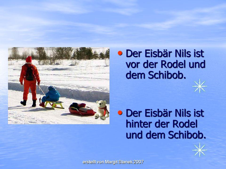 Der Eisbär Nils ist vor der Rodel und dem Schibob.