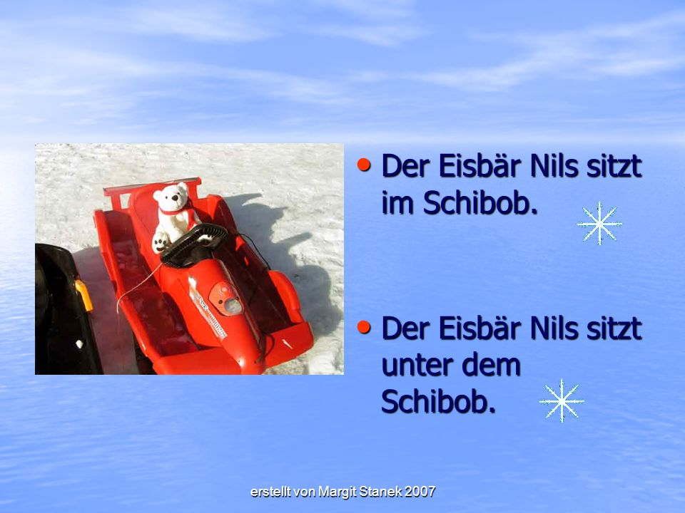 Der Eisbär Nils sitzt im Schibob.Der Eisbär Nils sitzt im Schibob.