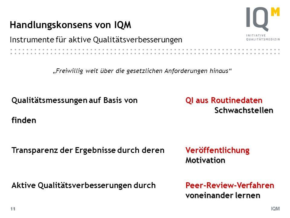 IQM 11 Handlungskonsens von IQM Instrumente für aktive Qualitätsverbesserungen Freiwillig weit über die gesetzlichen Anforderungen hinaus QI aus Routi