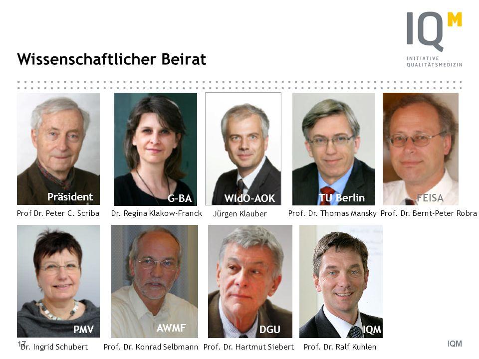IQM 17 Wissenschaftlicher Beirat Dr. Ingrid Schubert Dr. Regina Klakow-Franck Jürgen Klauber Prof. Dr. Thomas ManskyProf. Dr. Bernt-Peter Robra Prof.