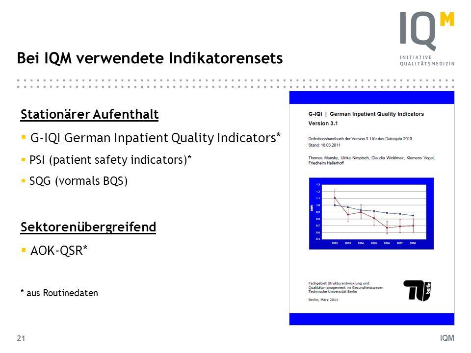 IQM 21 Bei IQM verwendete Indikatorensets Stationärer Aufenthalt G-IQI German Inpatient Quality Indicators* PSI (patient safety indicators)* SQG (vorm
