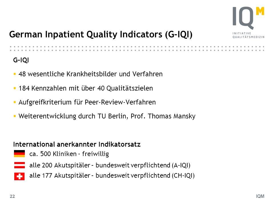 IQM 22 German Inpatient Quality Indicators (G-IQI) G-IQI 48 wesentliche Krankheitsbilder und Verfahren 184 Kennzahlen mit über 40 Qualitätszielen Aufg
