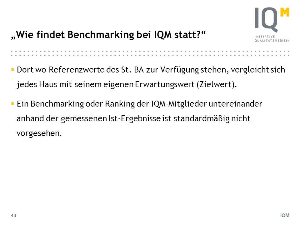 IQM 43 Wie findet Benchmarking bei IQM statt? Dort wo Referenzwerte des St. BA zur Verfügung stehen, vergleicht sich jedes Haus mit seinem eigenen Erw