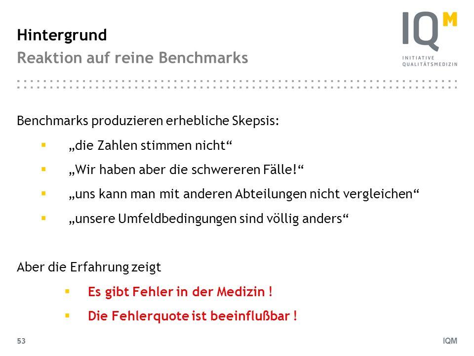 IQM 53 Hintergrund Reaktion auf reine Benchmarks Benchmarks produzieren erhebliche Skepsis: die Zahlen stimmen nicht Wir haben aber die schwereren Fäl