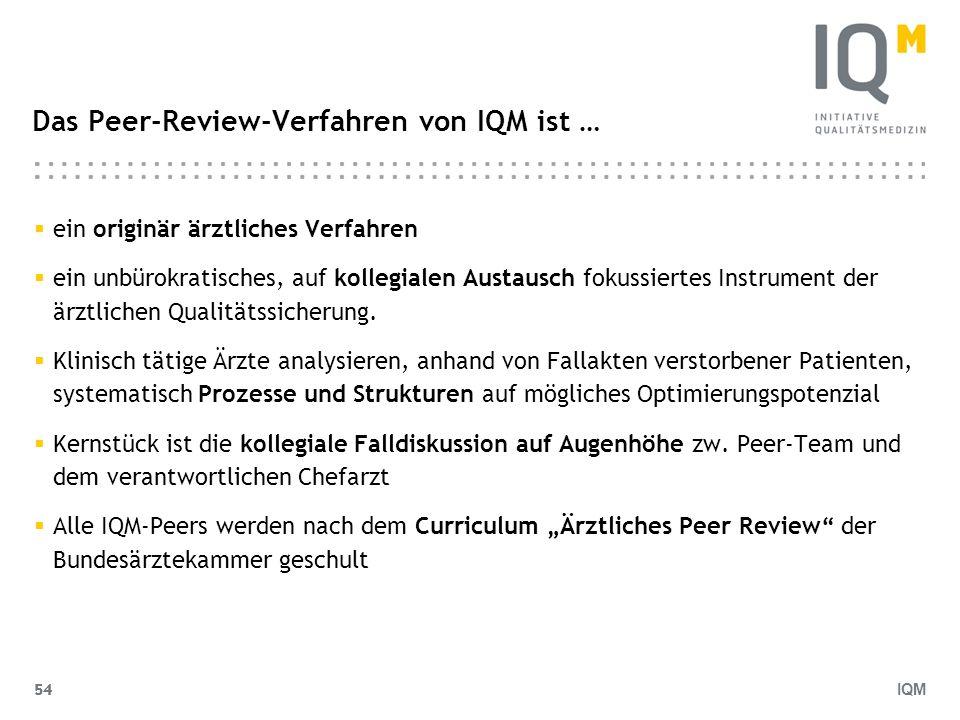 IQM 54 Das Peer-Review-Verfahren von IQM ist … ein originär ärztliches Verfahren ein unbürokratisches, auf kollegialen Austausch fokussiertes Instrume