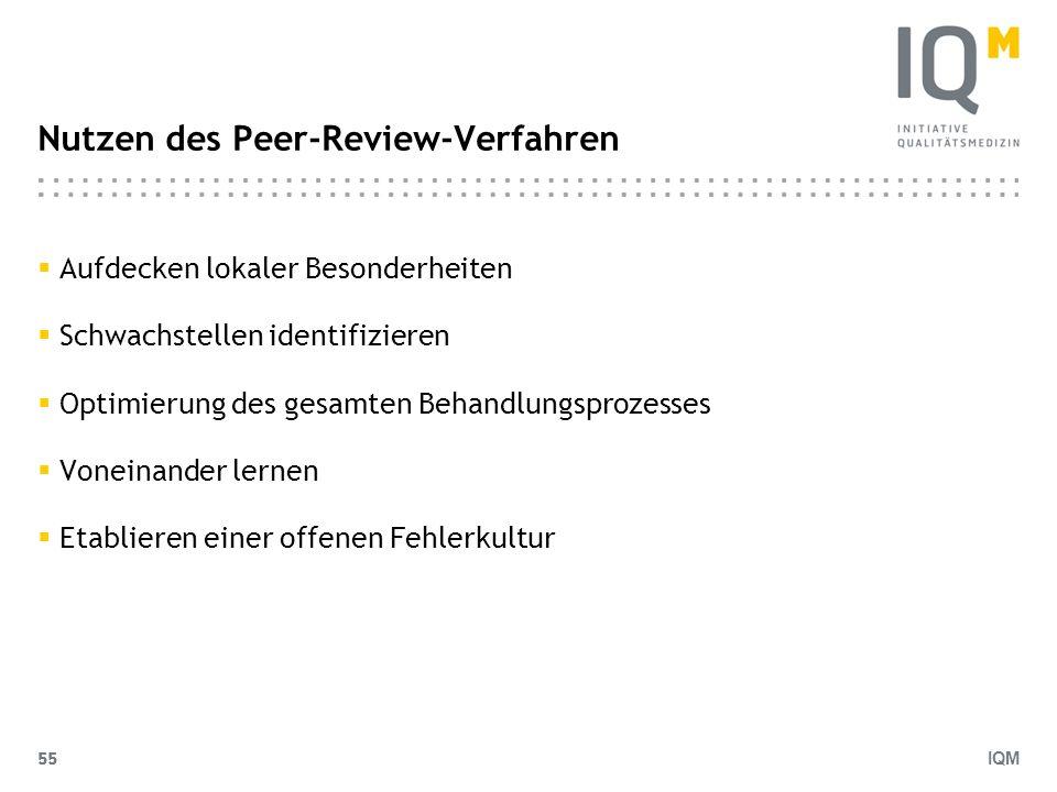IQM 55 Nutzen des Peer-Review-Verfahren Aufdecken lokaler Besonderheiten Schwachstellen identifizieren Optimierung des gesamten Behandlungsprozesses V