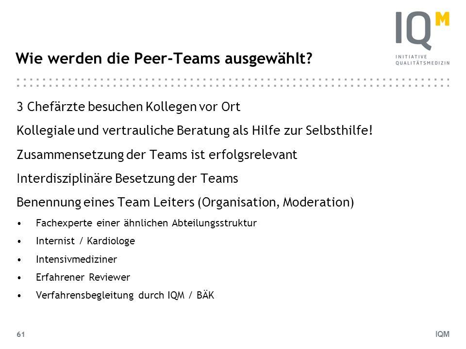 IQM 61 Wie werden die Peer-Teams ausgewählt? 3 Chefärzte besuchen Kollegen vor Ort Kollegiale und vertrauliche Beratung als Hilfe zur Selbsthilfe! Zus