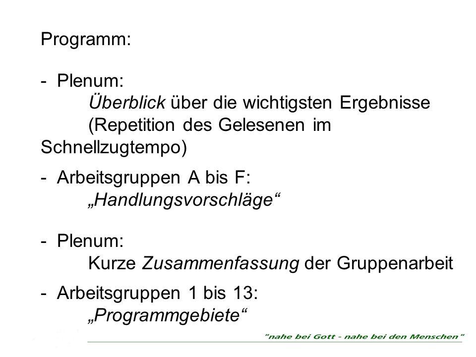Programm: - Plenum: Überblick über die wichtigsten Ergebnisse (Repetition des Gelesenen im Schnellzugtempo) - Arbeitsgruppen A bis F: Handlungsvorschl