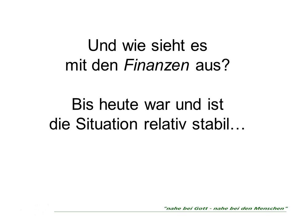 Und wie sieht es mit den Finanzen aus? Bis heute war und ist die Situation relativ stabil…