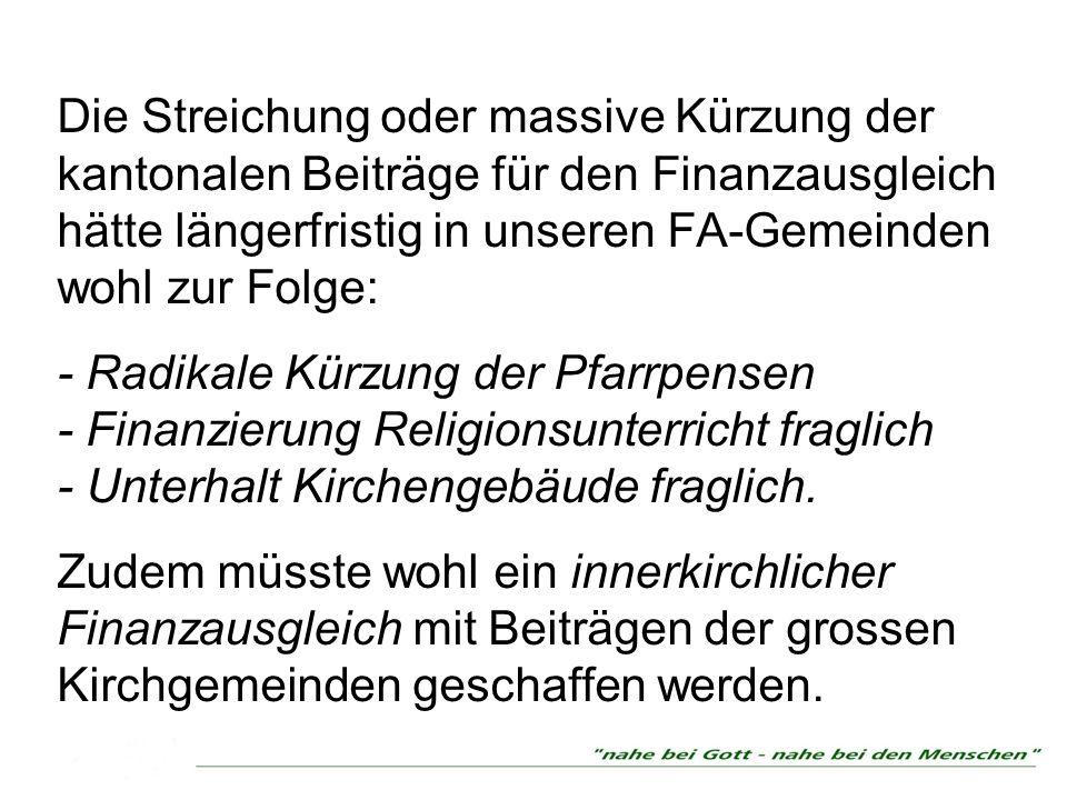 Die Streichung oder massive Kürzung der kantonalen Beiträge für den Finanzausgleich hätte längerfristig in unseren FA-Gemeinden wohl zur Folge: - Radi