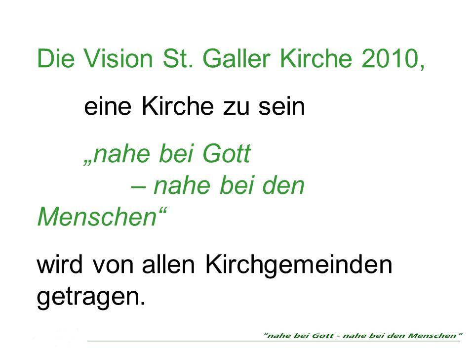 Die Vision St. Galler Kirche 2010, eine Kirche zu sein nahe bei Gott – nahe bei den Menschen wird von allen Kirchgemeinden getragen.