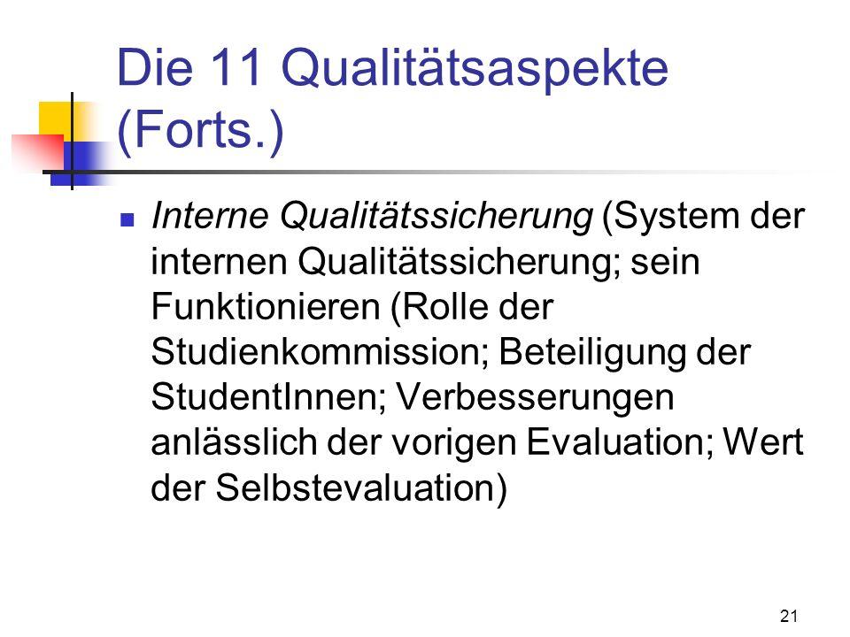21 Die 11 Qualitätsaspekte (Forts.) Interne Qualitätssicherung (System der internen Qualitätssicherung; sein Funktionieren (Rolle der Studienkommission; Beteiligung der StudentInnen; Verbesserungen anlässlich der vorigen Evaluation; Wert der Selbstevaluation)