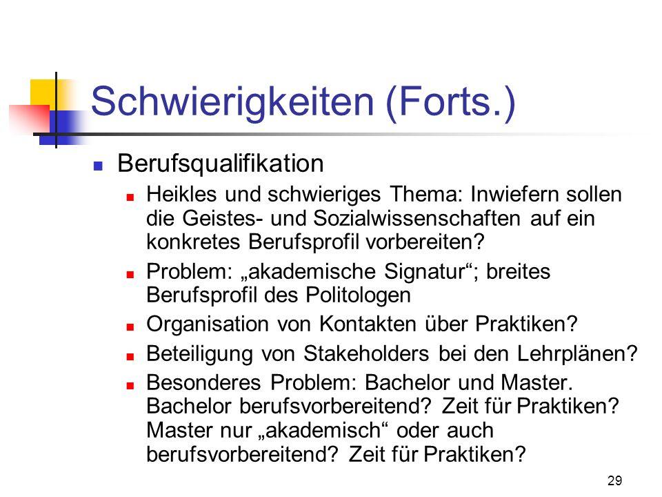 29 Schwierigkeiten (Forts.) Berufsqualifikation Heikles und schwieriges Thema: Inwiefern sollen die Geistes- und Sozialwissenschaften auf ein konkretes Berufsprofil vorbereiten.