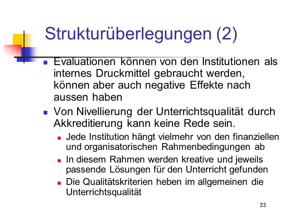33 Strukturüberlegungen (2) Evaluationen können von den Institutionen als internes Druckmittel gebraucht werden, können aber auch negative Effekte nach aussen haben Von Nivellierung der Unterrichtsqualität durch Akkreditierung kann keine Rede sein.