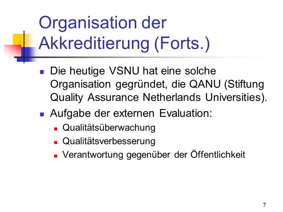7 Organisation der Akkreditierung (Forts.) Die heutige VSNU hat eine solche Organisation gegründet, die QANU (Stiftung Quality Assurance Netherlands Universities).