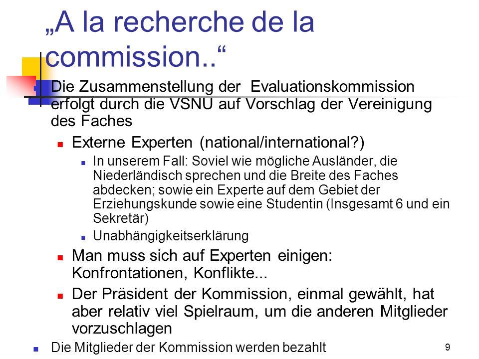 9 A la recherche de la commission..