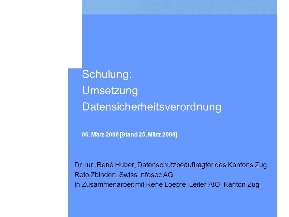 Schulung: Umsetzung Datensicherheitsverordnung 06.