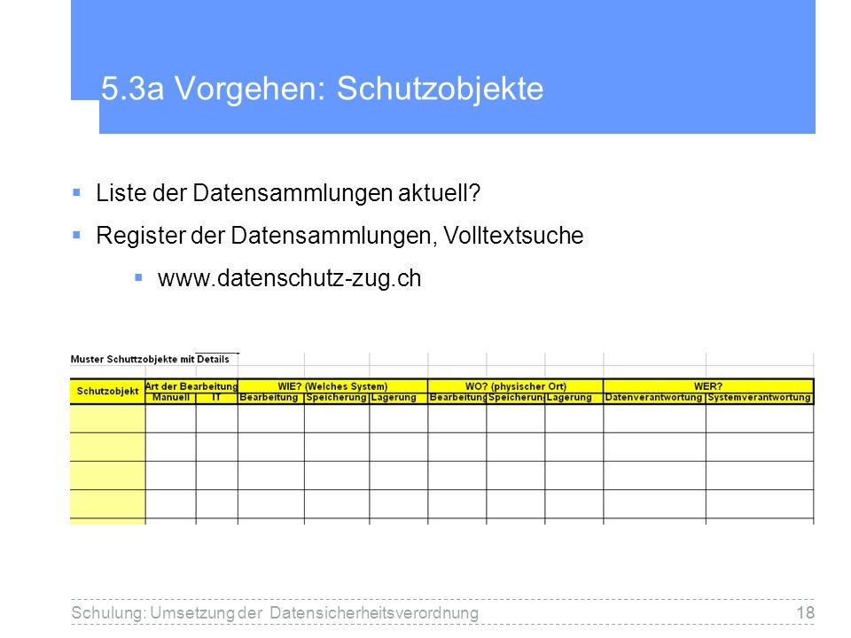 18 5.3a Vorgehen: Schutzobjekte Schulung: Umsetzung der Datensicherheitsverordnung Liste der Datensammlungen aktuell? Register der Datensammlungen, Vo