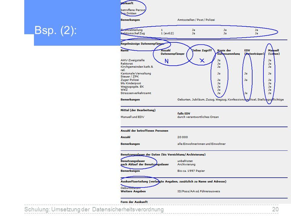 Bsp. (2): 20Schulung: Umsetzung der Datensicherheitsverordnung
