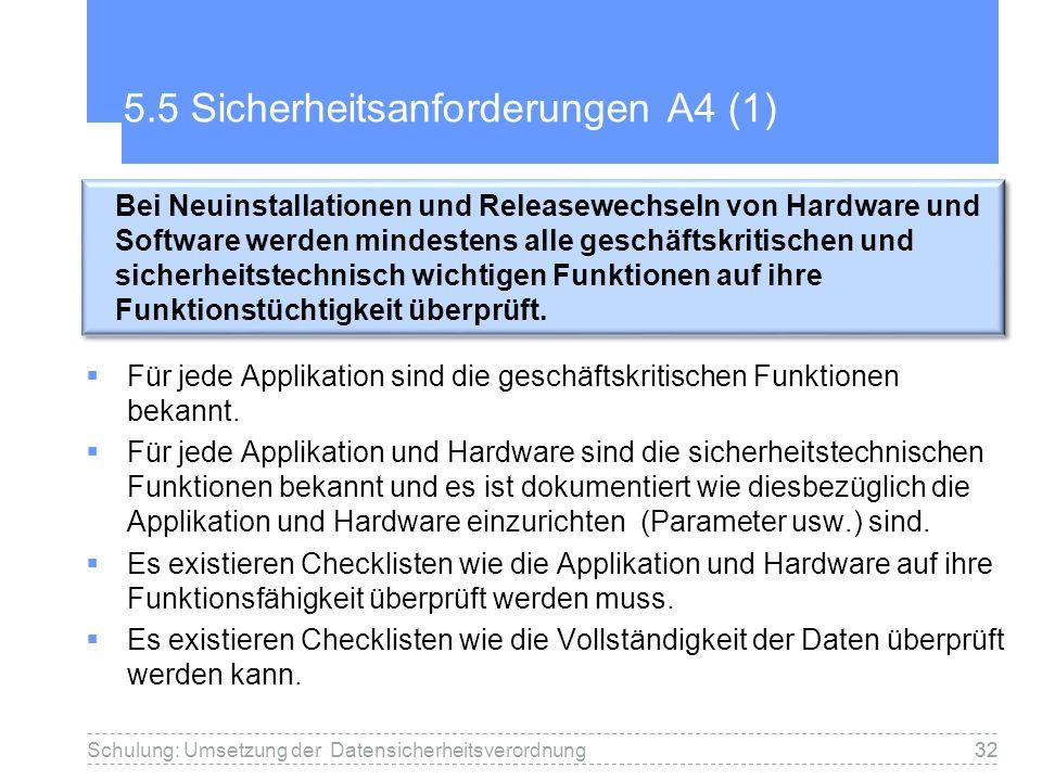 32 5.5 Sicherheitsanforderungen A4 (1) Für jede Applikation sind die geschäftskritischen Funktionen bekannt. Für jede Applikation und Hardware sind di