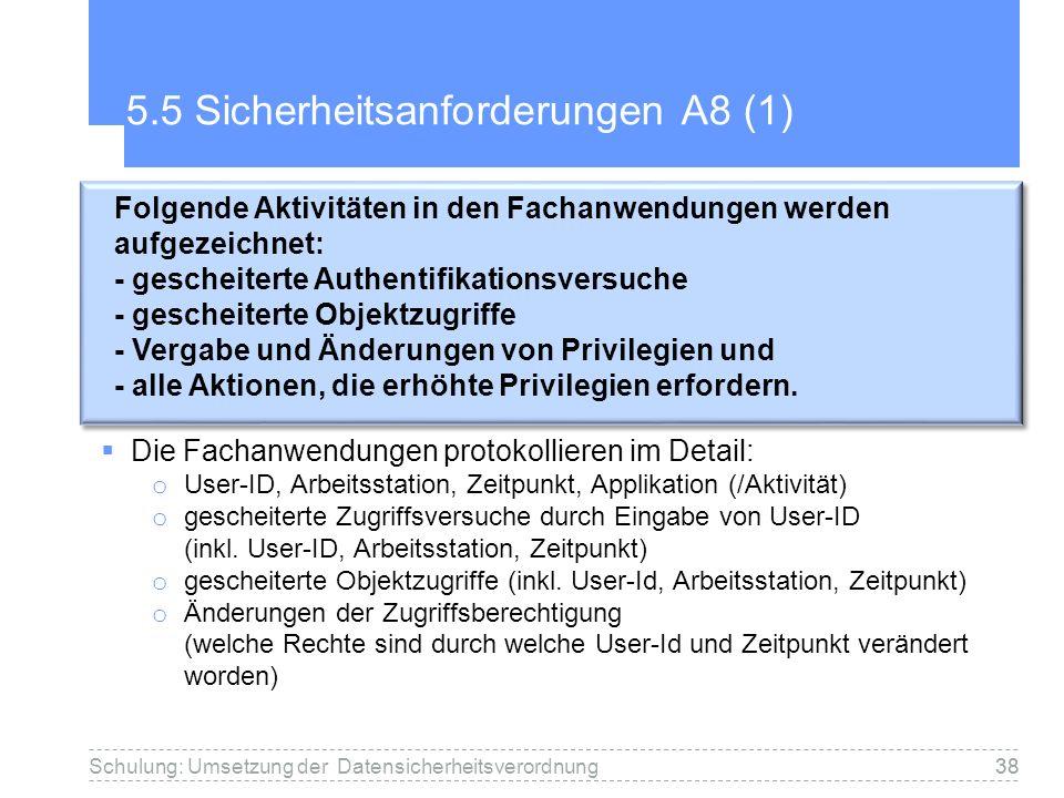38 5.5 Sicherheitsanforderungen A8 (1) Die Fachanwendungen protokollieren im Detail: o User-ID, Arbeitsstation, Zeitpunkt, Applikation (/Aktivität) o gescheiterte Zugriffsversuche durch Eingabe von User-ID (inkl.
