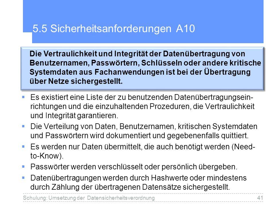 41 5.5 Sicherheitsanforderungen A10 Es existiert eine Liste der zu benutzenden Datenübertragungsein- richtungen und die einzuhaltenden Prozeduren, die Vertraulichkeit und Integrität garantieren.