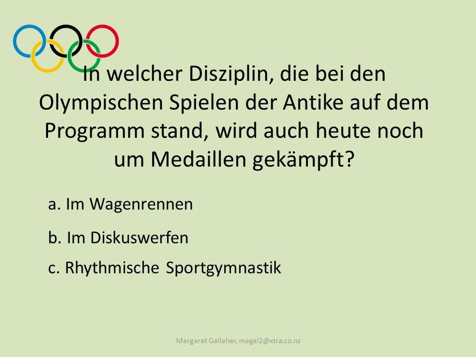 In welcher Disziplin, die bei den Olympischen Spielen der Antike auf dem Programm stand, wird auch heute noch um Medaillen gekämpft.