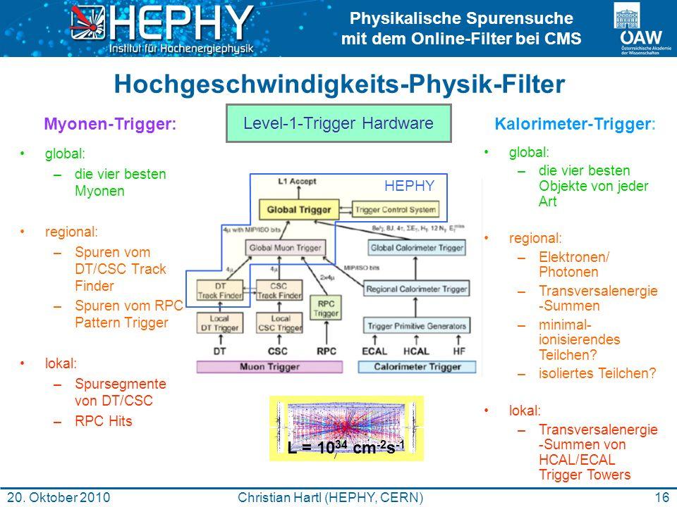 Physikalische Spurensuche mit dem Online-Filter bei CMS 16Christian Hartl (HEPHY, CERN)20. Oktober 2010 Hochgeschwindigkeits-Physik-Filter global: –di
