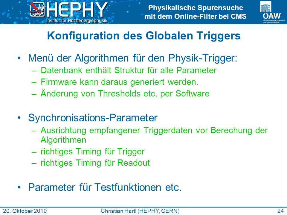 Physikalische Spurensuche mit dem Online-Filter bei CMS 24Christian Hartl (HEPHY, CERN)20. Oktober 2010 Konfiguration des Globalen Triggers Menü der A