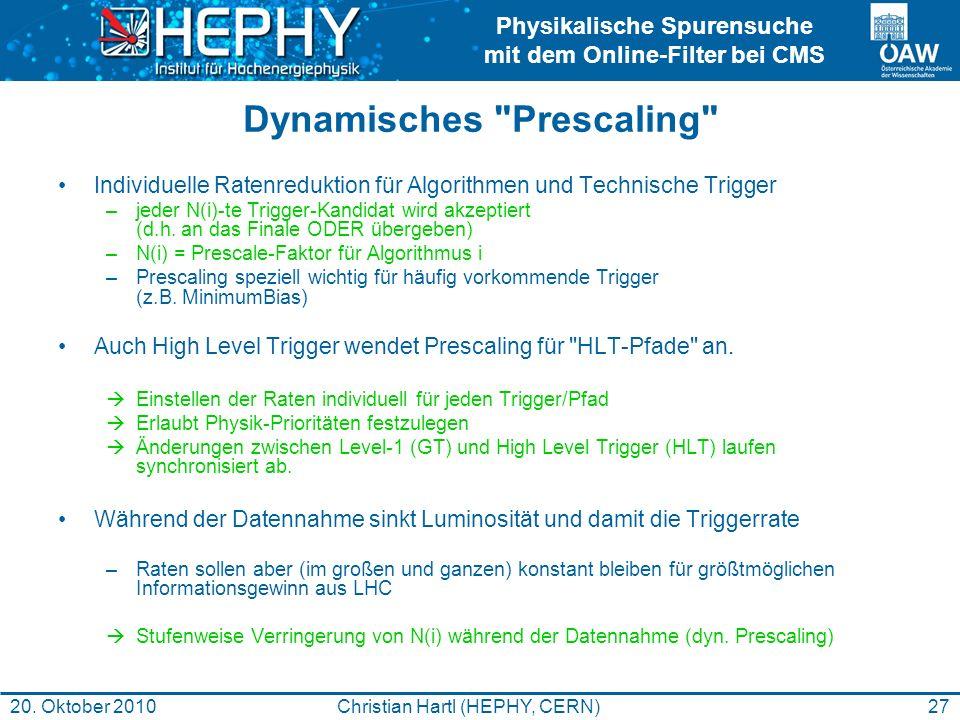 Physikalische Spurensuche mit dem Online-Filter bei CMS 27Christian Hartl (HEPHY, CERN)20. Oktober 2010 Dynamisches
