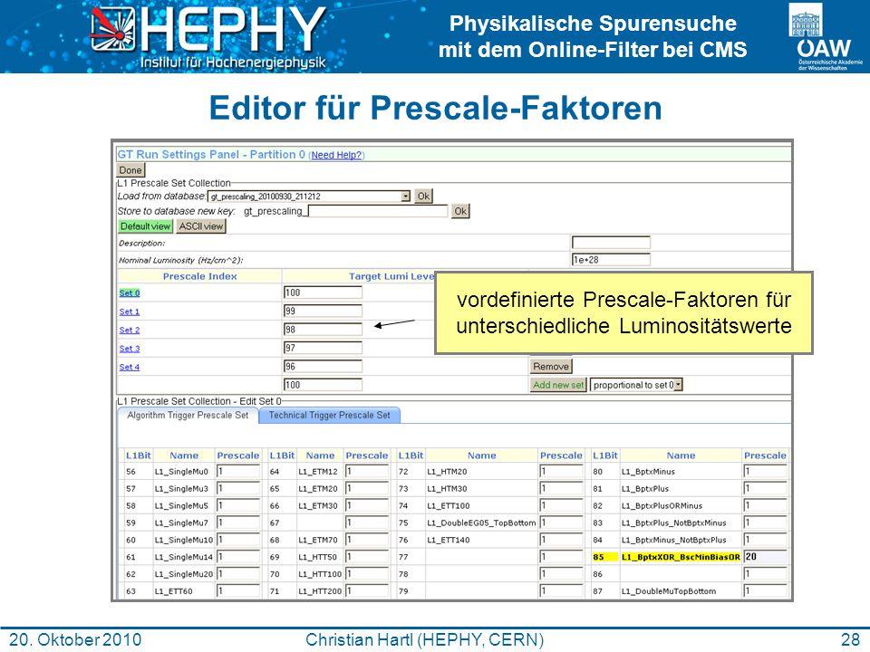 Physikalische Spurensuche mit dem Online-Filter bei CMS 28Christian Hartl (HEPHY, CERN)20. Oktober 2010 Editor für Prescale-Faktoren vordefinierte Pre