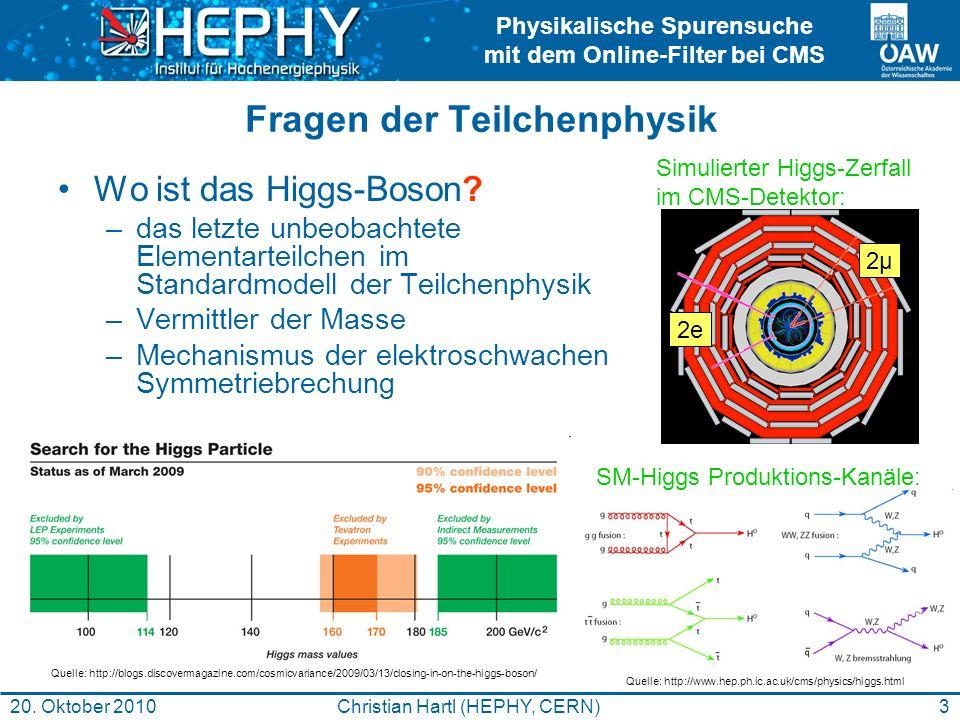 Physikalische Spurensuche mit dem Online-Filter bei CMS 3Christian Hartl (HEPHY, CERN)20. Oktober 2010 Fragen der Teilchenphysik Wo ist das Higgs-Boso