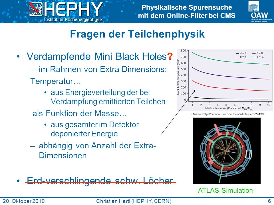 Physikalische Spurensuche mit dem Online-Filter bei CMS 6Christian Hartl (HEPHY, CERN)20. Oktober 2010 Fragen der Teilchenphysik Verdampfende Mini Bla
