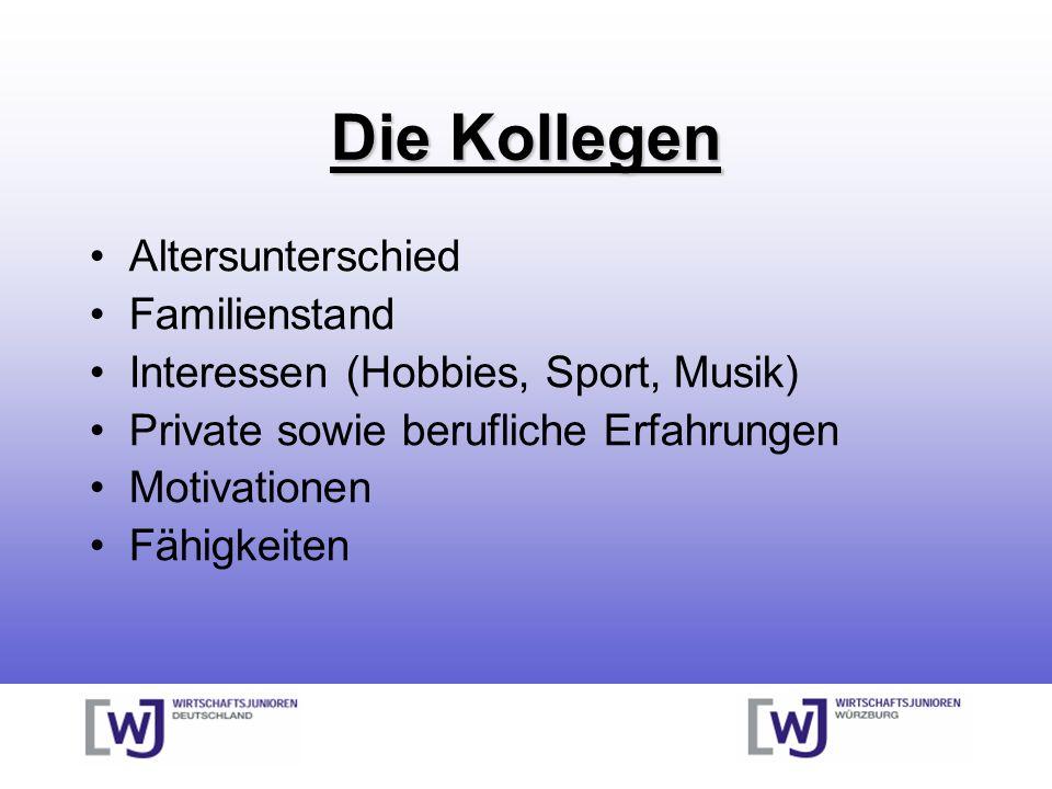 Die Kollegen Altersunterschied Familienstand Interessen (Hobbies, Sport, Musik) Private sowie berufliche Erfahrungen Motivationen Fähigkeiten