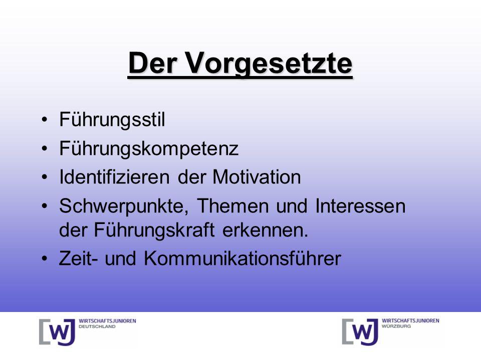 Der Vorgesetzte Führungsstil Führungskompetenz Identifizieren der Motivation Schwerpunkte, Themen und Interessen der Führungskraft erkennen.
