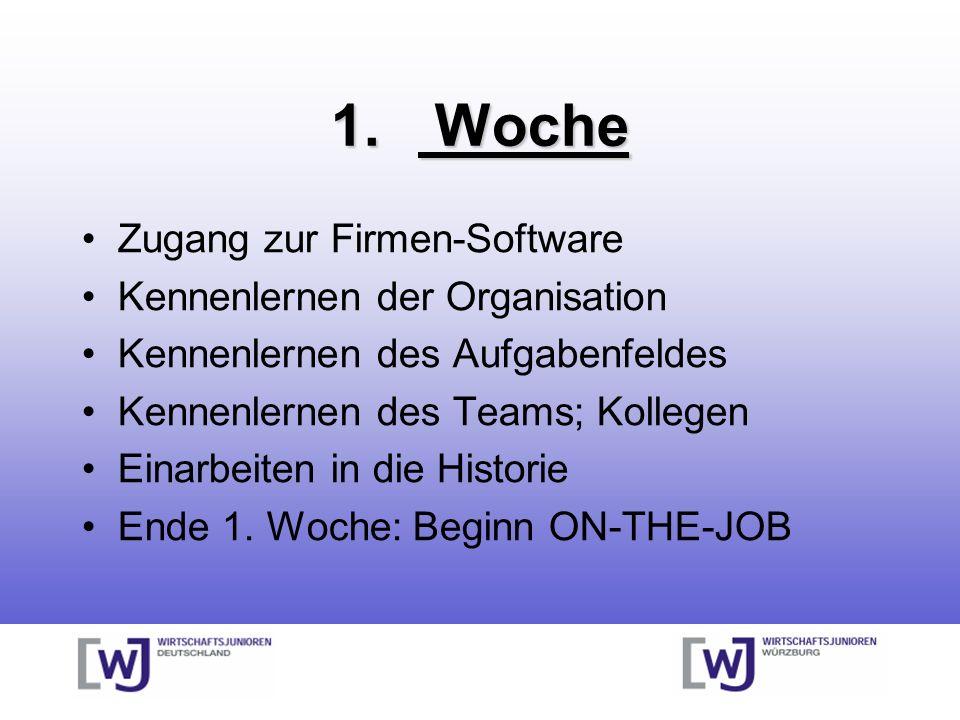 1. Woche Zugang zur Firmen-Software Kennenlernen der Organisation Kennenlernen des Aufgabenfeldes Kennenlernen des Teams; Kollegen Einarbeiten in die